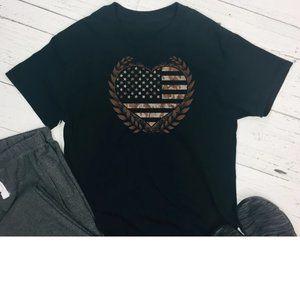 American flag heart camo tee shirt